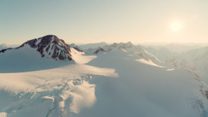 Wide revealer Pitztal glacier sunset