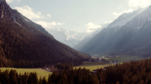 Alpine side valley in early spring