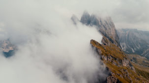 Seceda / Dolomites in mist wide 4