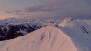 Hut and Kitzbuehel Alps at sunrise