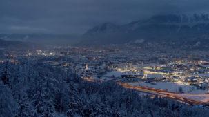 Wintry Innsbruck at dusk