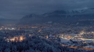 Wintry Innsbruck at dusk 1