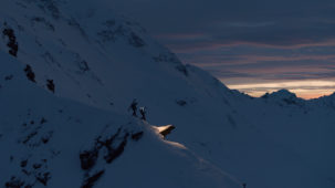 Mountaineers at dusk